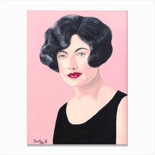 Flapper Woman Portrait In Black Dress Canvas Print