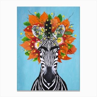 Frida Kahlo Zebra Canvas Print