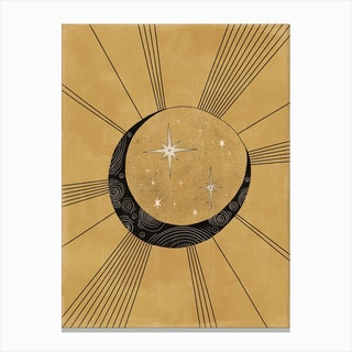 Moon With Runes Canvas Print