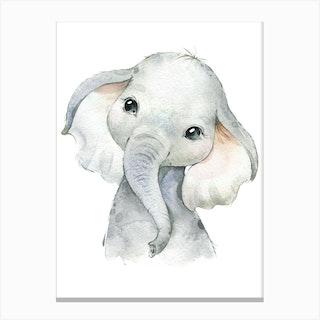 Watercolor Safari Baby Elephant Canvas Print