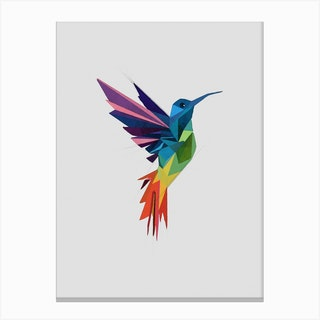 Multicolor Abstract Hummingbird Canvas Print
