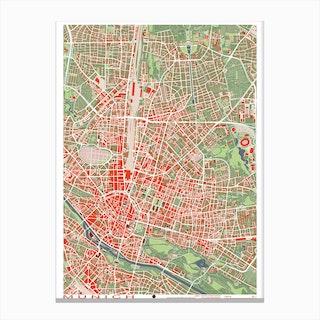 Munich Classic Map Canvas Print