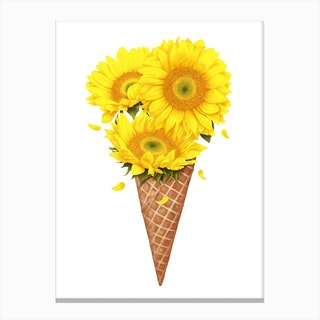 Ice Cream With Sunflowers Canvas Print
