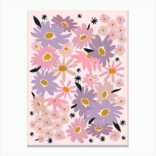Garden Flowers Pink Canvas Print