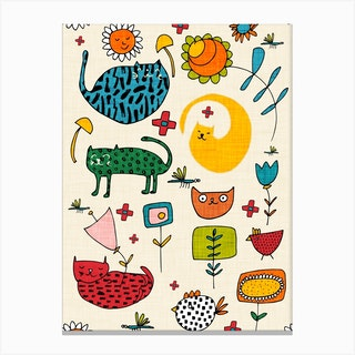 Spring Cat Beige Canvas Print