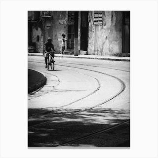 Urban Cyclist Of Havana Canvas Print