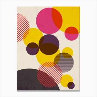 Dots In Yellow Raspberry And Dark Purple Canvas Print