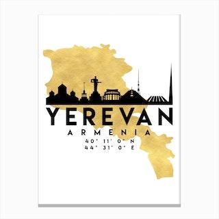 Yerevan Armenia Silhouette City Skyline Map Canvas Print