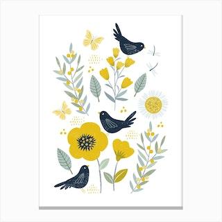Blackbird Garden Canvas Print