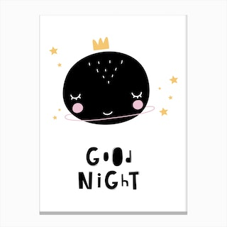 Scandi Good Night Planet Canvas Print