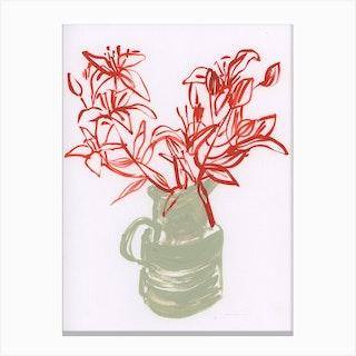 Lillies In A Jug Canvas Print