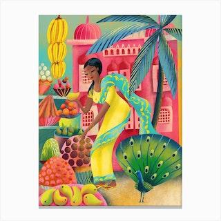 Jaipur Market Canvas Print