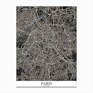 Paris Black Blue Canvas Print