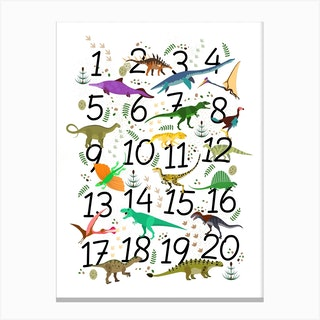 Dinosaur Numbers Canvas Print