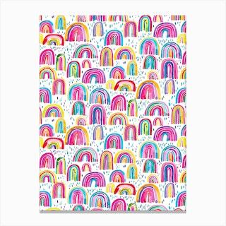 Cute Watercolor Rainbows Canvas Print