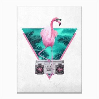 Miami Flamingo A3 Canvas Print