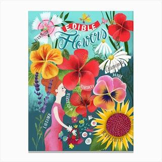 Edible Flowers Chart Canvas Print