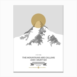 Mountains Illustrated K2 Gold Circle Canvas Print