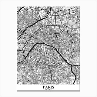Paris White Black Canvas Print