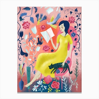 Woman Reading With Cat Canvas Print