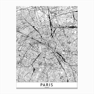 Paris White Map Canvas Print
