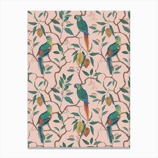 Peach Parrots Canvas Print