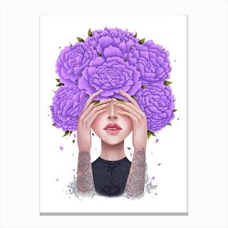 Ultraviolet Peonies Canvas Print