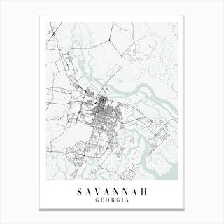 Savannah Georgia Street Map Minimal Color Canvas Print