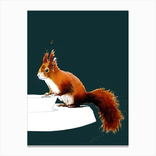 The Red Squirrel On Deep Cyan Canvas Print