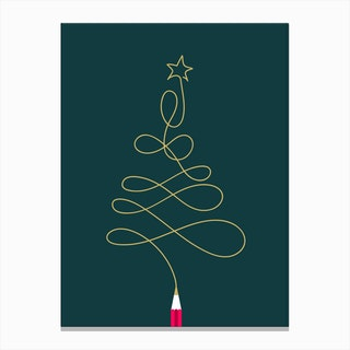 Christmas Pencil Tree Canvas Print