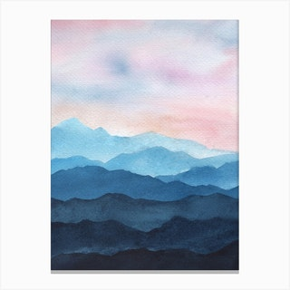 Abstract Blue Mountains Canvas Print