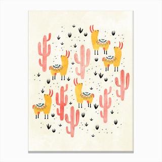 Yellow Llamas Red Cacti Canvas Print