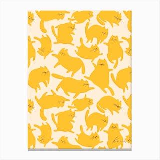 Cats Yellow Pattern Canvas Print