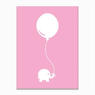 Elephant with Balloon (Pink) Canvas Print