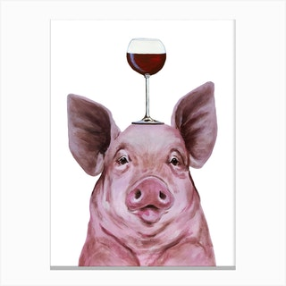 Pig With Wineglass Canvas Print