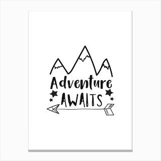 Adventure Awaits Mountains Canvas Print
