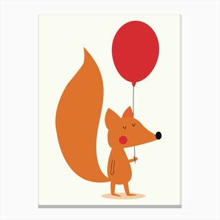 Fox With A Red Balloon Canvas Print