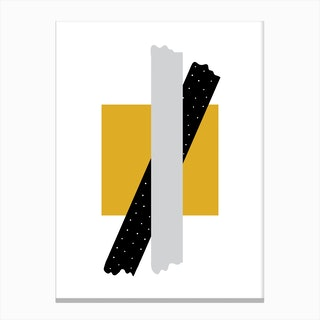 Grey and Black Cross Over Mustard Box Abstract Canvas Print
