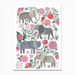 Elephants And Pomegranites Canvas Print