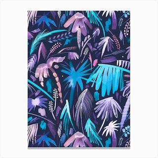 Brushstrokes Tropical Palms Navy Canvas Print