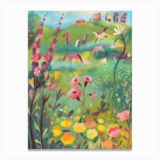 Meadow With Horses Canvas Print