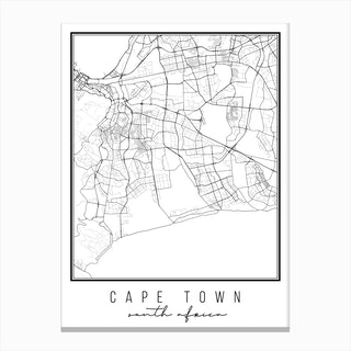 Cape Town South Africa Street Map Canvas Print