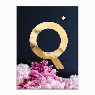 Flower Alphabet Q Canvas Print