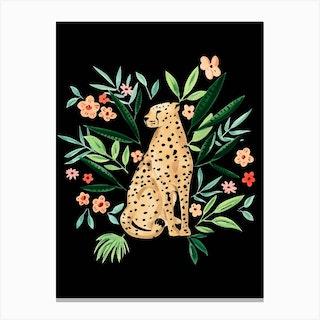 Cheetah 2 Black Canvas Print