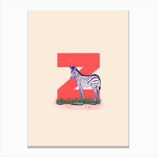 Letter Z Zebra Canvas Print