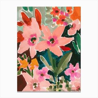 In Bloom Black Canvas Print