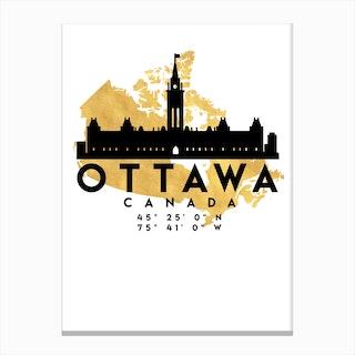 Ottawa Canada Silhouette City Skyline Map Canvas Print