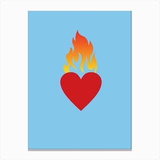 Burning Love Blue Canvas Print