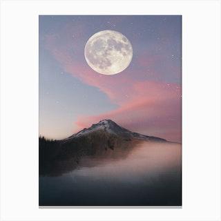 Pink Sky Moon Mountain Sea Canvas Print