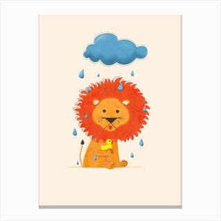 Lion And Duck Canvas Print